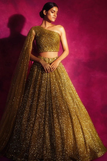 Dull Gold One Shoulder Veil Lehenga Set