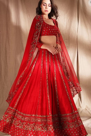 Red Zari Raw Silk Lehenga