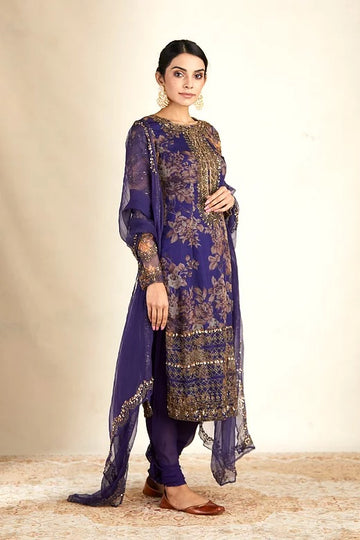 Purple Floral Printed Organza Kurti Set