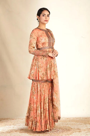 Coral Printed Peplum Sharara Set