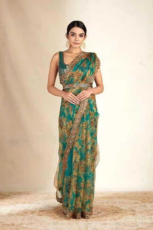Teal Green Embroidered Organza Saree