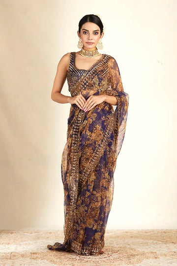 Purple Embroidered Organza Saree