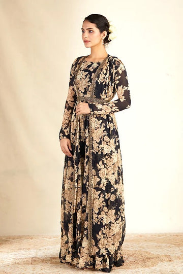 Black Floral Printed Jumpsuit with Cape and Belt