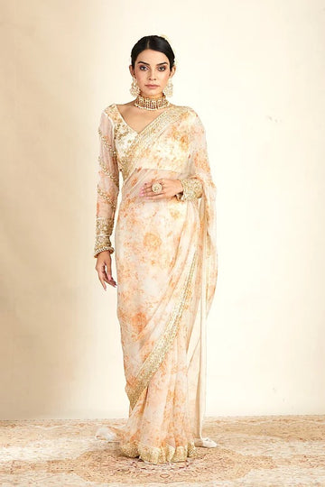 Off White Organza Saree With Organza Embellished Blouse