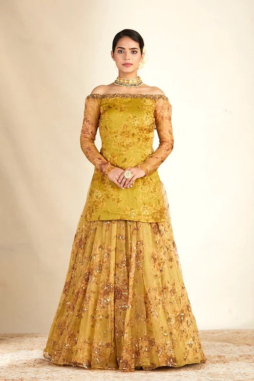 Mustard Floral Off Shoulder Organza Kurta With Skirt
