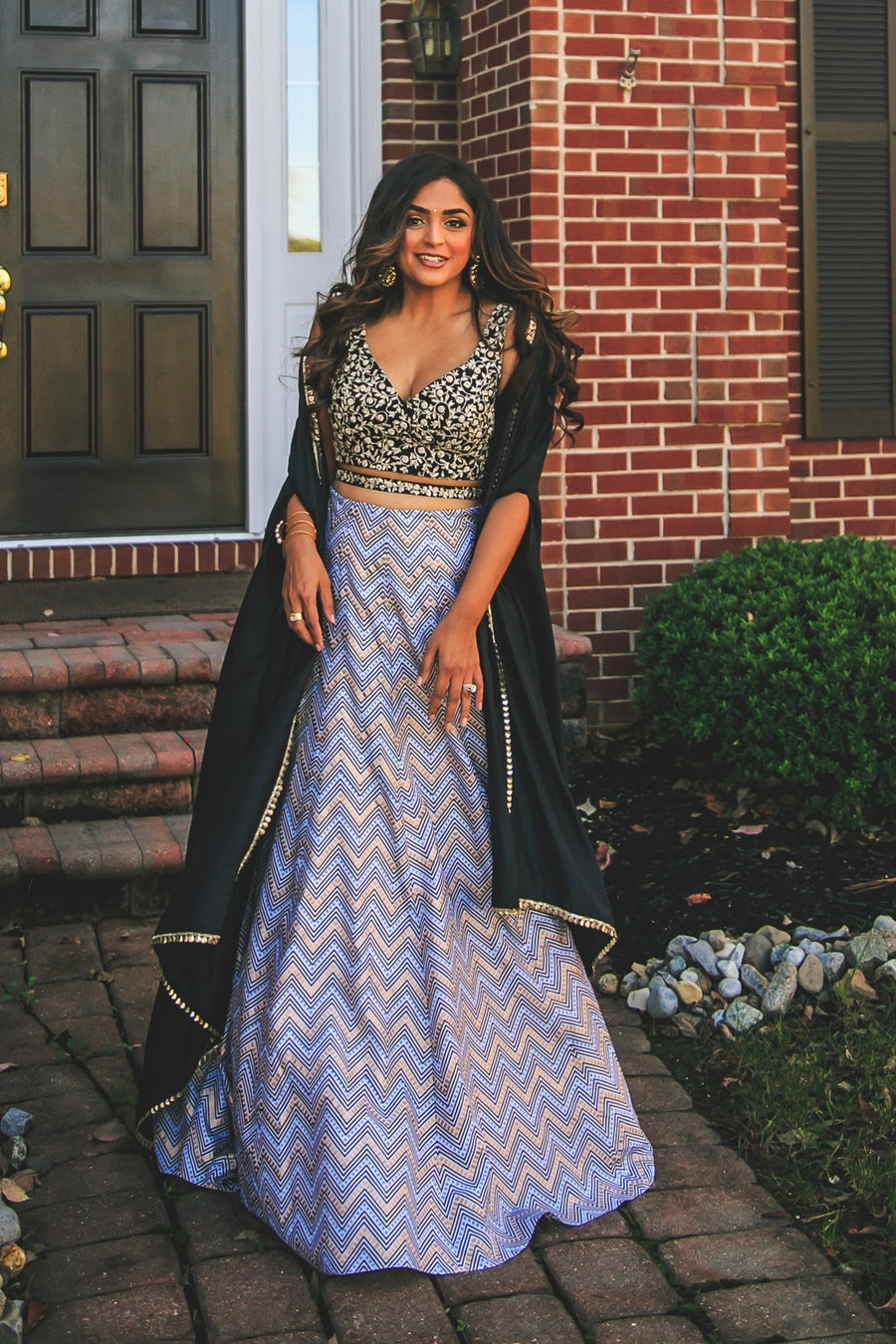 Chevron Lehenga with Cape