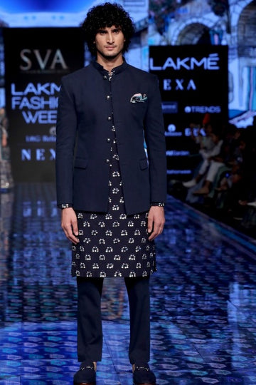 Dark Blue Denim Bandghala and Kurta Set