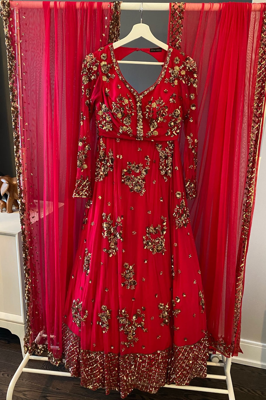 Pink-Red Embroidered Net Lehenga