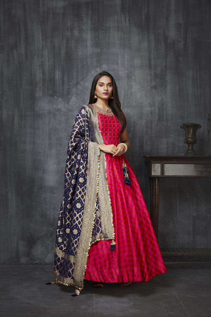 Rani Pink Anarkali with Navy Banarasi Dupatta