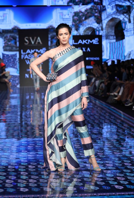Stripe Print Saree Drape Pant Set
