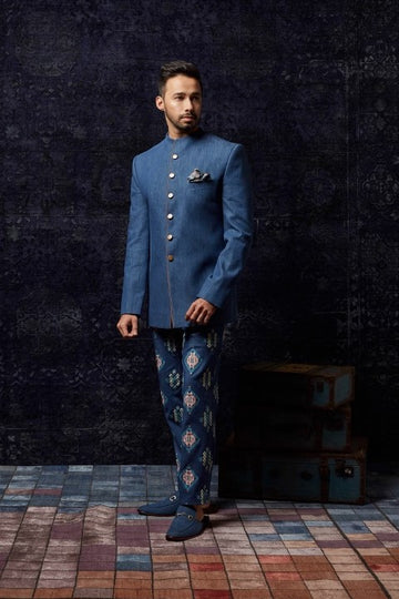 Denim Bandhgala with printed pants