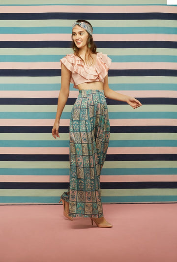 Pink Ruffle top and Galeecha Printed Pants
