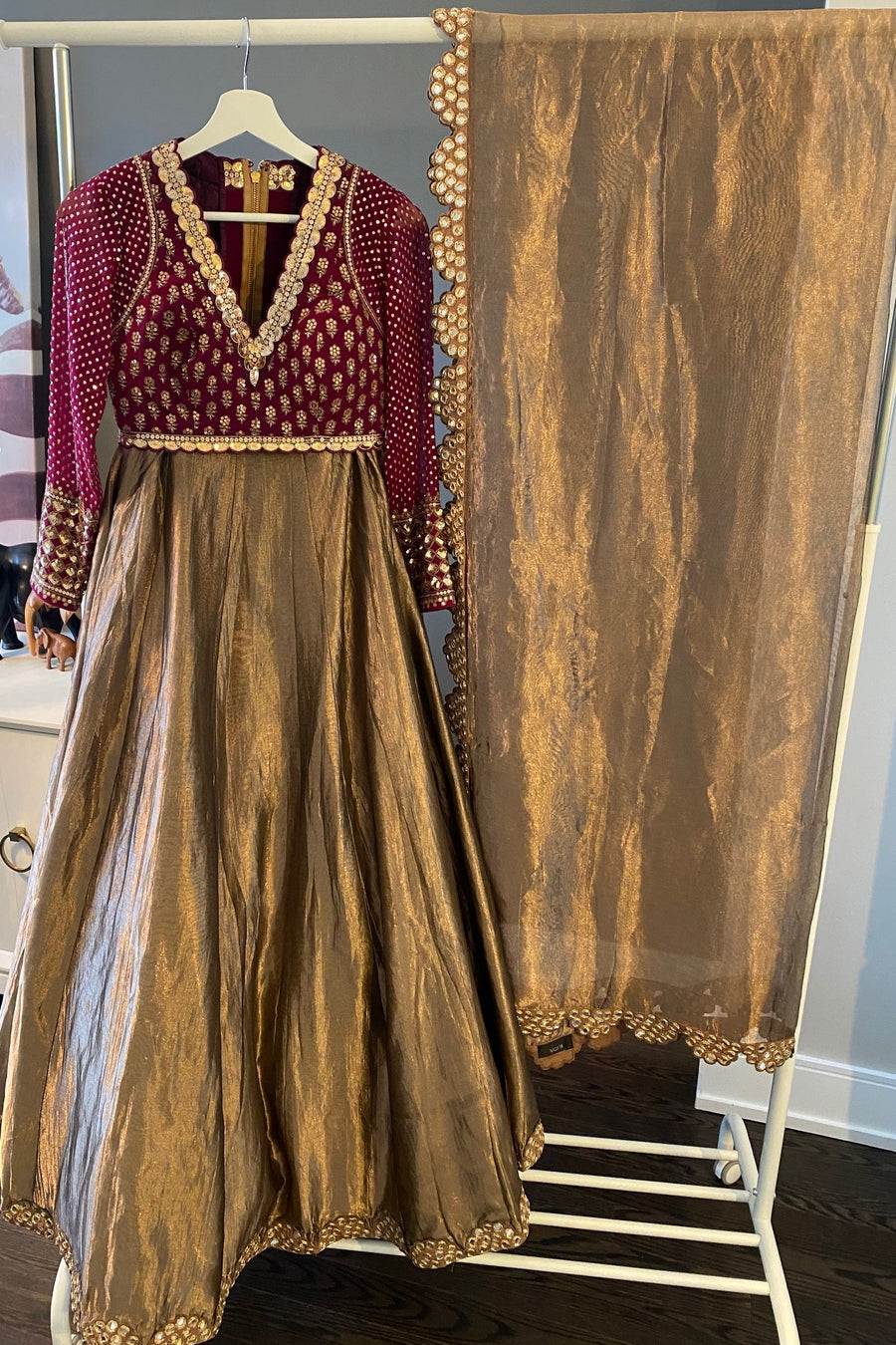 Copper and Wine Tissue Lehenga Set