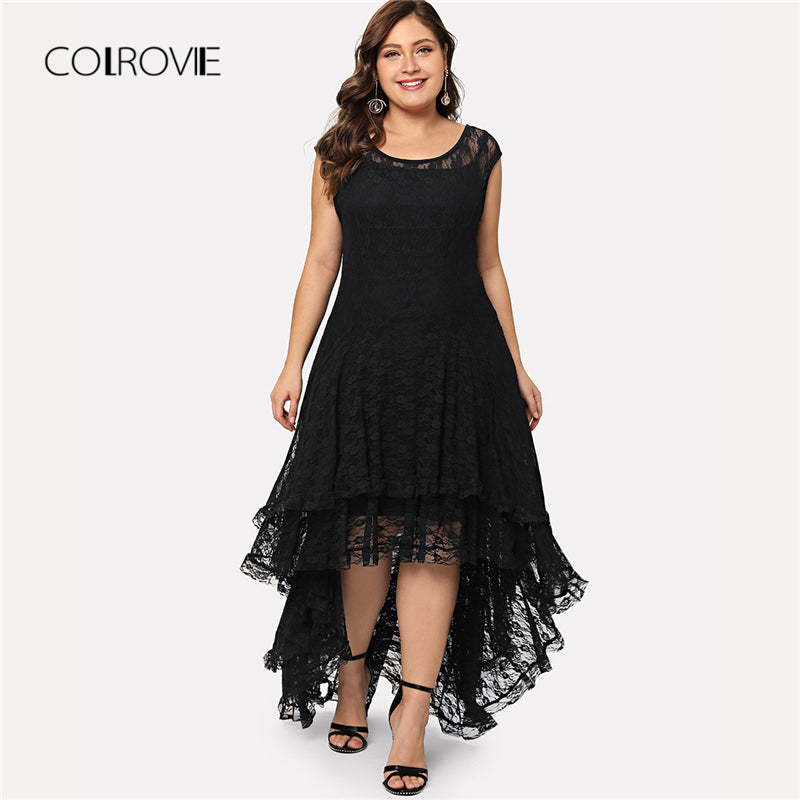 Women Plus Size Black Backless Dip Hem Layered Lace Dress