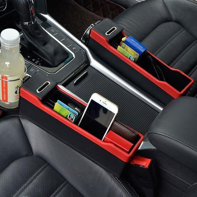 Car Seat Storage Box Organizer with Cup Holder & Coin Box