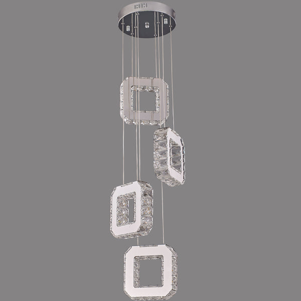 4-Pendant Crystal Hanging Squares | Easy Fit