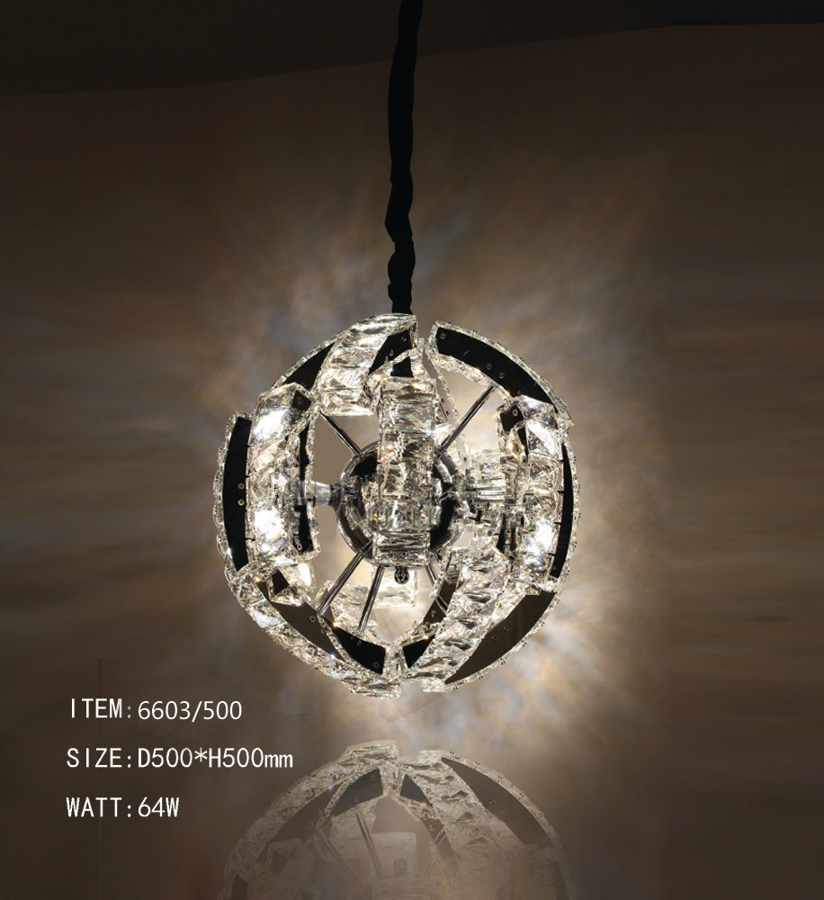 Galaxy LED Round Crystal Ceiling Pendant