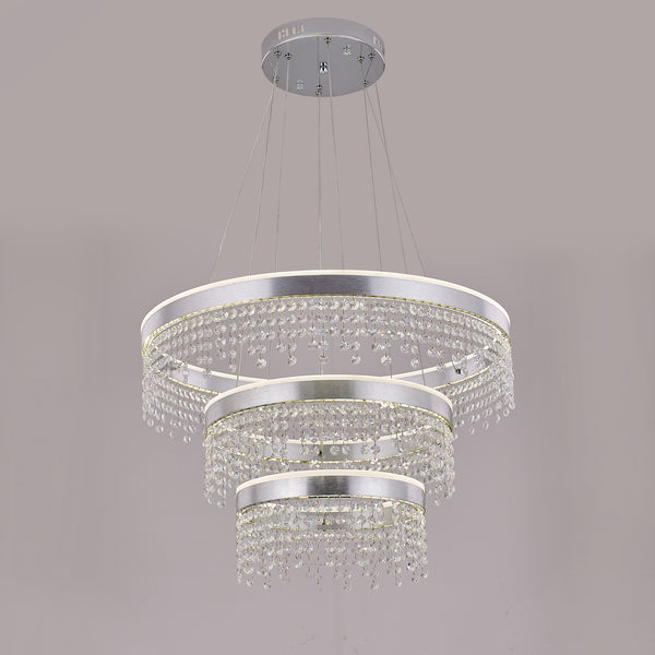 Julianna 3 Ring Contemporary Chandelier with Hanging Crystals