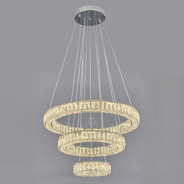 Julianna 3 Ring Modern Crystal Chandelier | Easy Fit