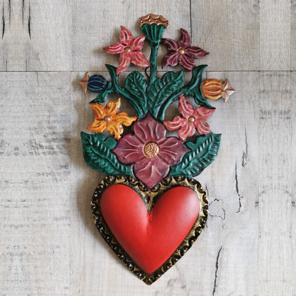 Tin Heart with Flowers