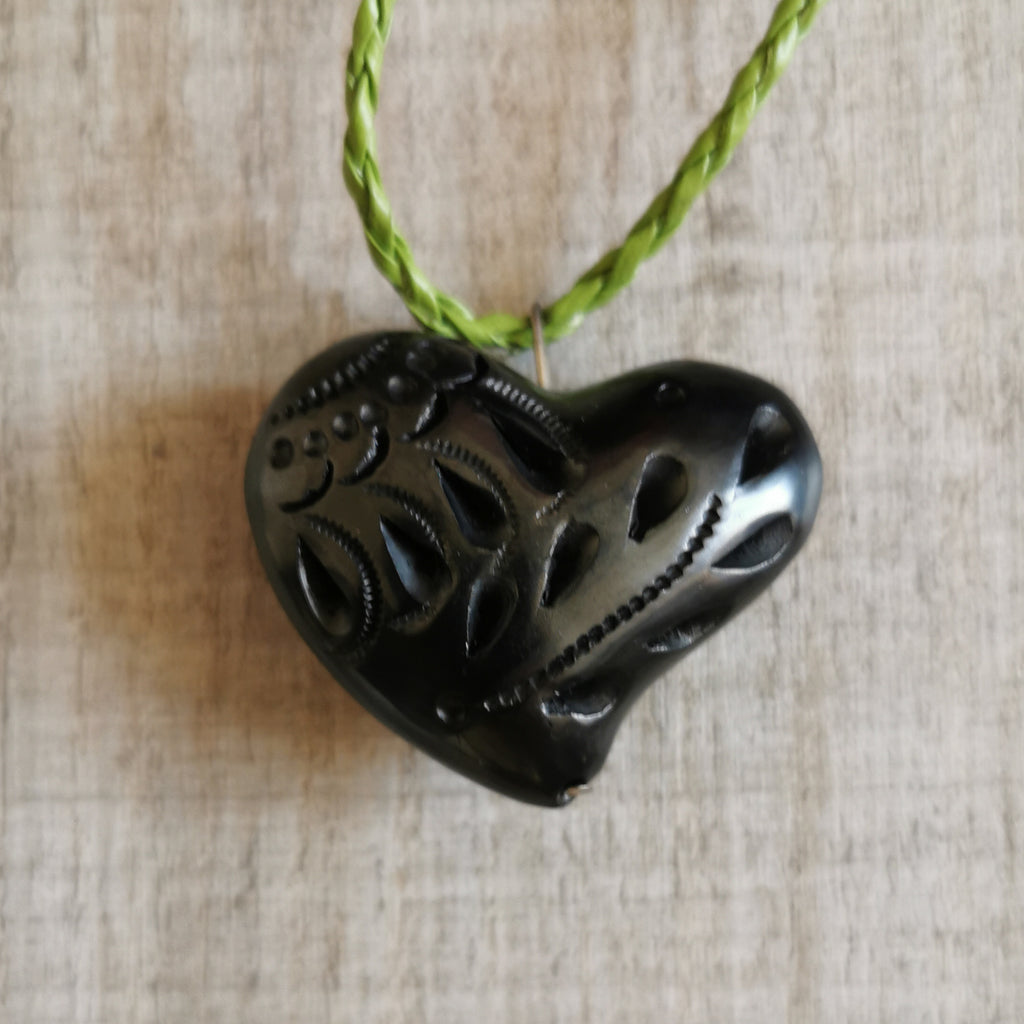 Black Clay Heart Necklace