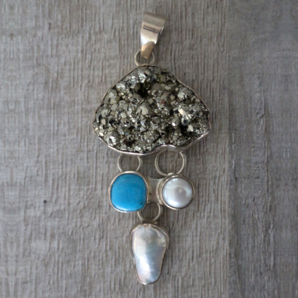 Pyrite, turquoise, pearl & silver pendant