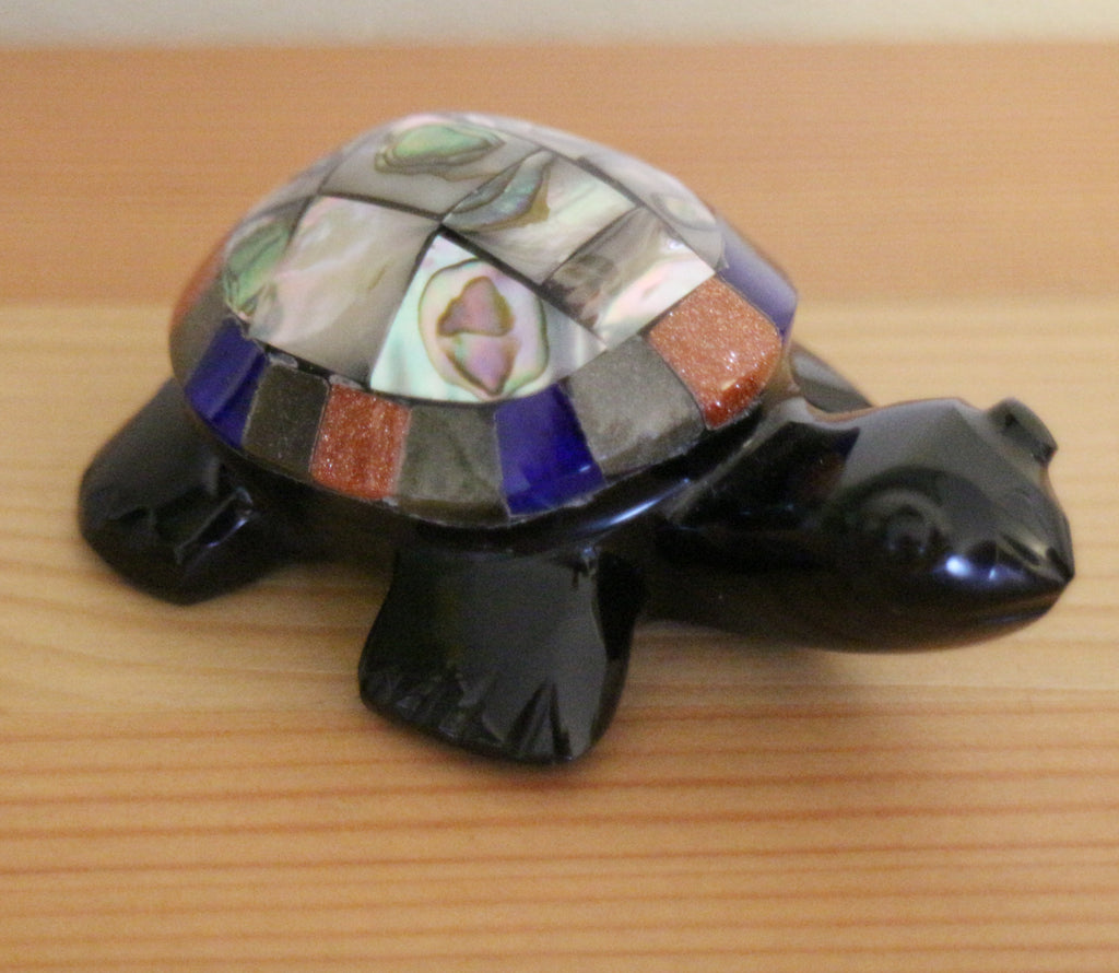 Obsidian & abalone turtle