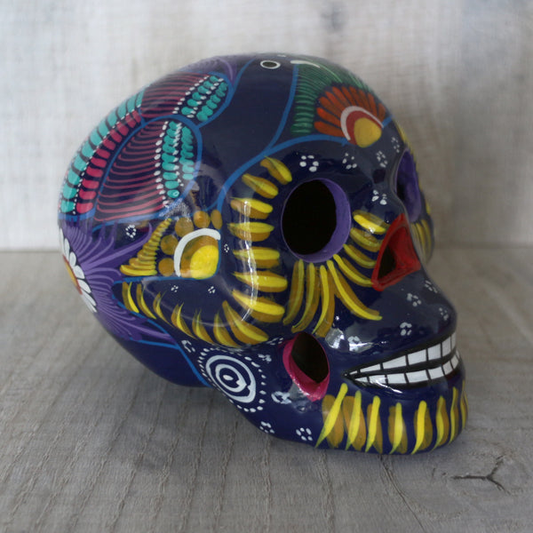 Stunning unique hand painted clay Mexican sugar skull