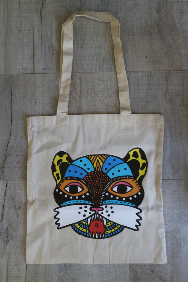 Mexican jaguar print tote bag