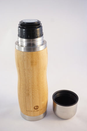 Bamboo Thermo Bottle With Lid/Cup 12 oz