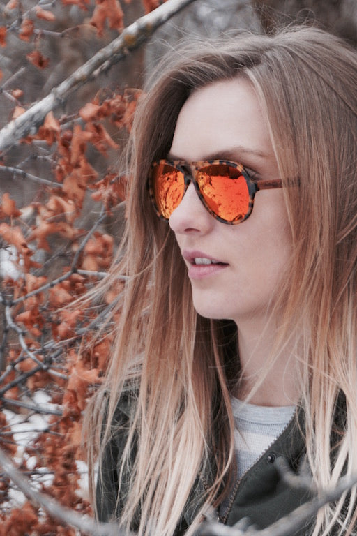 Acetate Sunglasses With Wooden Sides