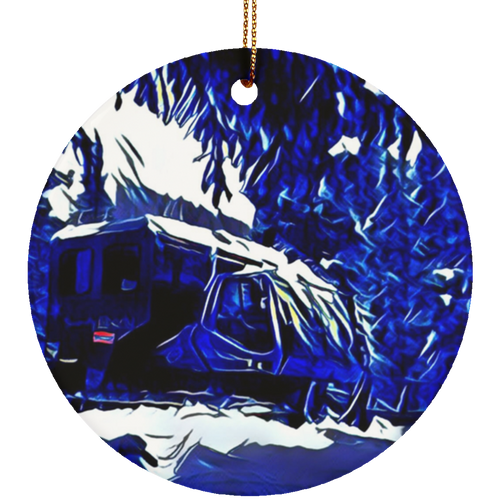Powder Addiction Snowcat Circle Ornament