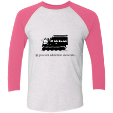 Powder Addiction Snowcat Skiing and Snowboarding Tri-Blend 3/4 Sleeve Baseball Raglan T-Shirt