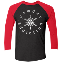 Powder Addiction Snowcats Skiing and Snowboardingl Tri-Blend 3/4 Sleeve Baseball Raglan T-Shirt