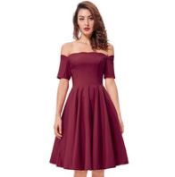 ANASTASIA Burgundy Off-Shoulder Dress