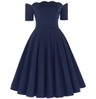 ANASTASIA Navy Blue Off-Shoulder Dress
