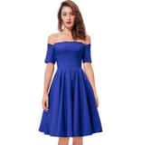 ANASTASIA Royal Blue Off-Shoulder Dress