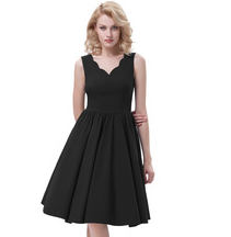 APRIL Black Scalloped V-Neck Dress