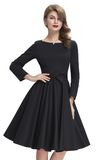 AURORA Black Retro Inspired Long Sleeve Dress