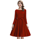 AURORA Red Retro Inspired Long Sleeve Dress