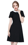 FLORA Black Mod Collar Dress