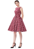 LAYLA Red & White Plaid Retro-Inspired Dress