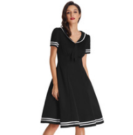 LILLY Black Lapel Collar Sailor Dress