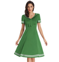 LILLY Green Lapel Collar Sailor Dress