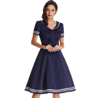 LILLY Navy Blue Lapel Collar Sailor Dress