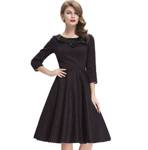 MATILDE Black with Red Polka Dot Bow Dress
