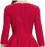 MATILDE Red with Black Polka Dot Bow Dress