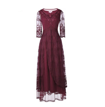 Renaissance Burgundy 3/4 Sleeve Dress