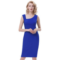 ROSALIE Blue Pencil Pinup Dress