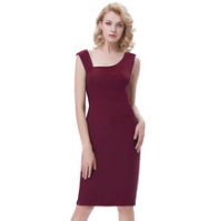 ROSALIE Burgundy Pencil Pinup Dress